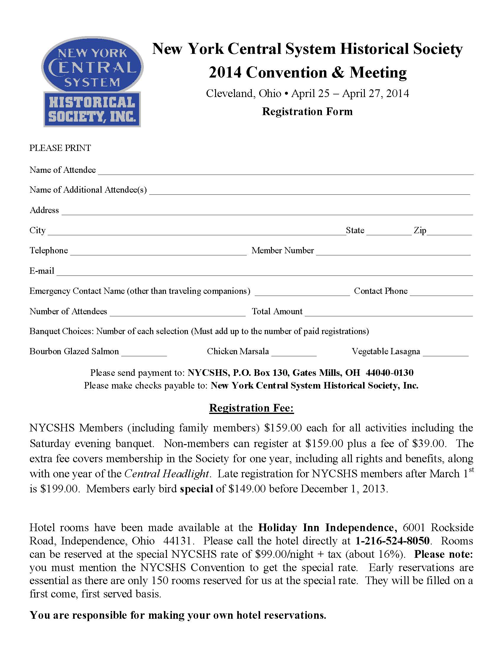 NYCSHS 2014 Conv Reg Form  Annual Leave Application Form