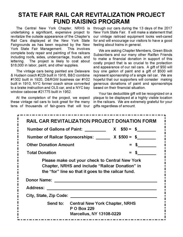 Rail Car Revitalization Fund Raising Program